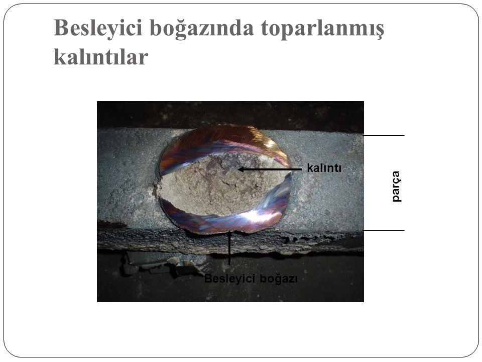 Besleyici boğazında toparlanmış kalıntılar Besleyici boğazı parça kalıntı