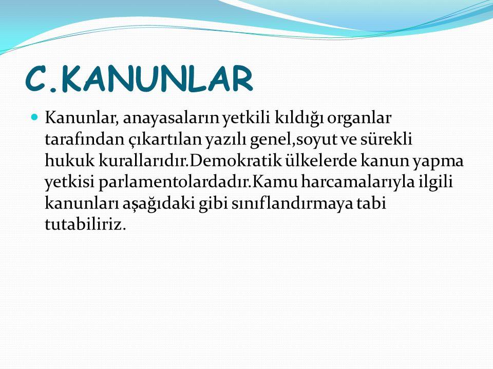 C.KANUNLAR Kanunlar, anayasaların yetkili kıldığı organlar tarafından çıkartılan yazılı genel,soyut ve sürekli hukuk kurallarıdır.Demokratik ülkelerde