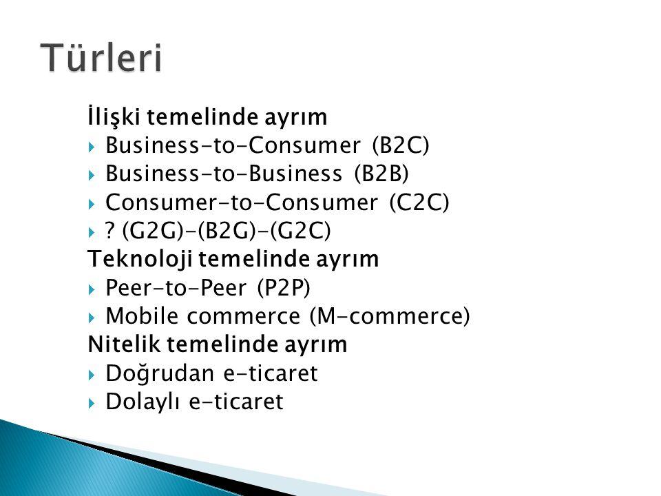 İlişki temelinde ayrım  Business-to-Consumer (B2C)  Business-to-Business (B2B)  Consumer-to-Consumer (C2C)  .