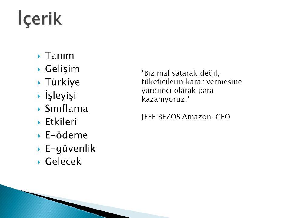 İçerik  Tanım  Gelişim  Türkiye  İşleyişi  Sınıflama  Etkileri  E-ödeme  E-güvenlik  Gelecek 'Biz mal satarak değil, tüketicilerin karar vermesine yardımcı olarak para kazanıyoruz.' JEFF BEZOS Amazon-CEO
