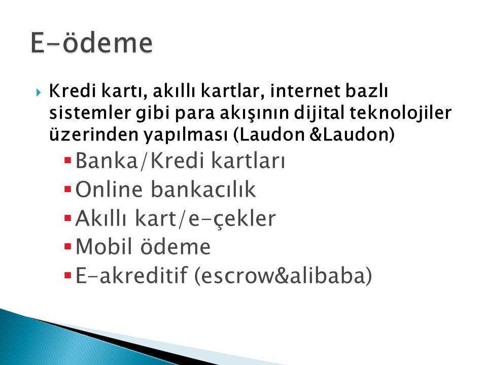  Kredi kartı, akıllı kartlar, internet bazlı sistemler gibi para akışının dijital teknolojiler üzerinden yapılması (Laudon &Laudon)  Banka/Kredi kartları  Online bankacılık  Akıllı kart/e-çekler  Mobil ödeme  E-akreditif (escrow&alibaba)