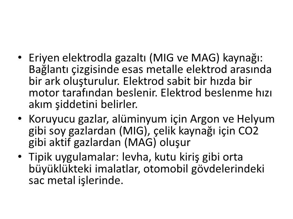 Eriyen elektrodla gazaltı (MIG ve MAG) kaynağı: Bağlantı çizgisinde esas metalle elektrod arasında bir ark oluşturulur. Elektrod sabit bir hızda bir m