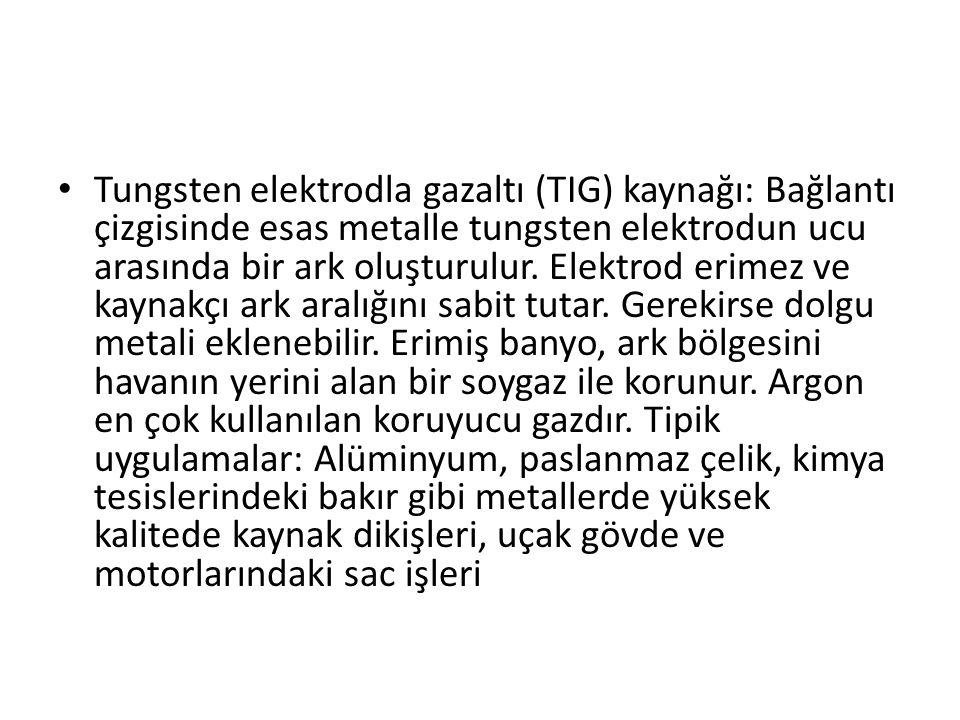 Tungsten elektrodla gazaltı (TIG) kaynağı: Bağlantı çizgisinde esas metalle tungsten elektrodun ucu arasında bir ark oluşturulur. Elektrod erimez ve k