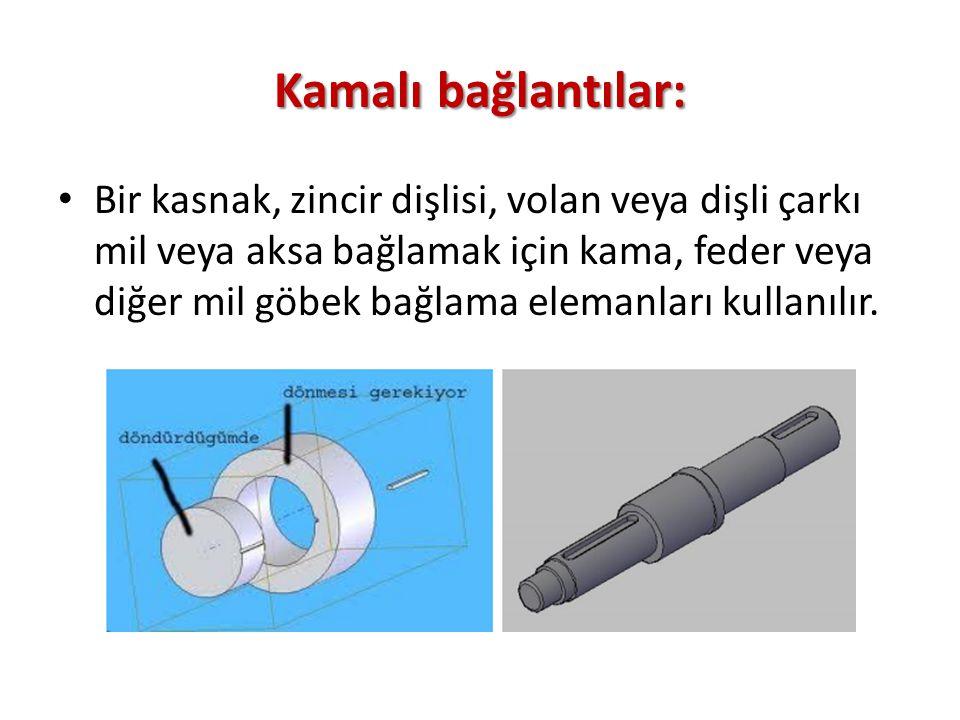 Kamalı bağlantılar: Bir kasnak, zincir dişlisi, volan veya dişli çarkı mil veya aksa bağlamak için kama, feder veya diğer mil göbek bağlama elemanları