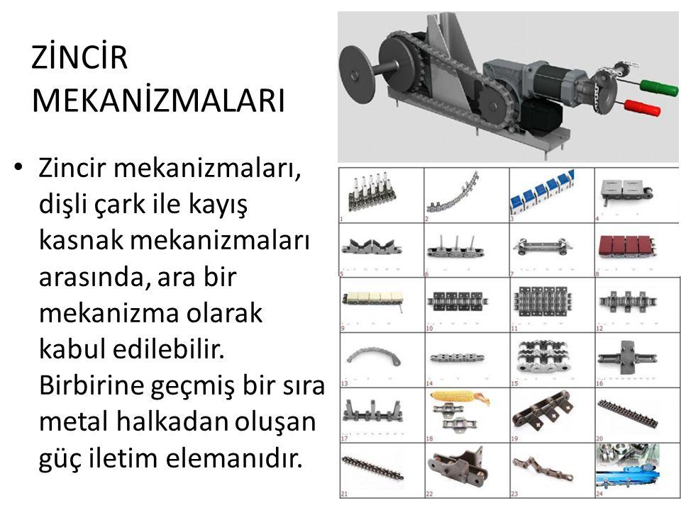 Zincir mekanizmaları, dişli çark ile kayış kasnak mekanizmaları arasında, ara bir mekanizma olarak kabul edilebilir. Birbirine geçmiş bir sıra metal h