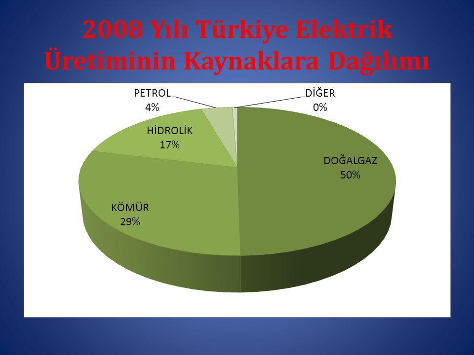 2008 Yılı Türkiye Elektrik Üretiminin Kaynaklara Dağılımı
