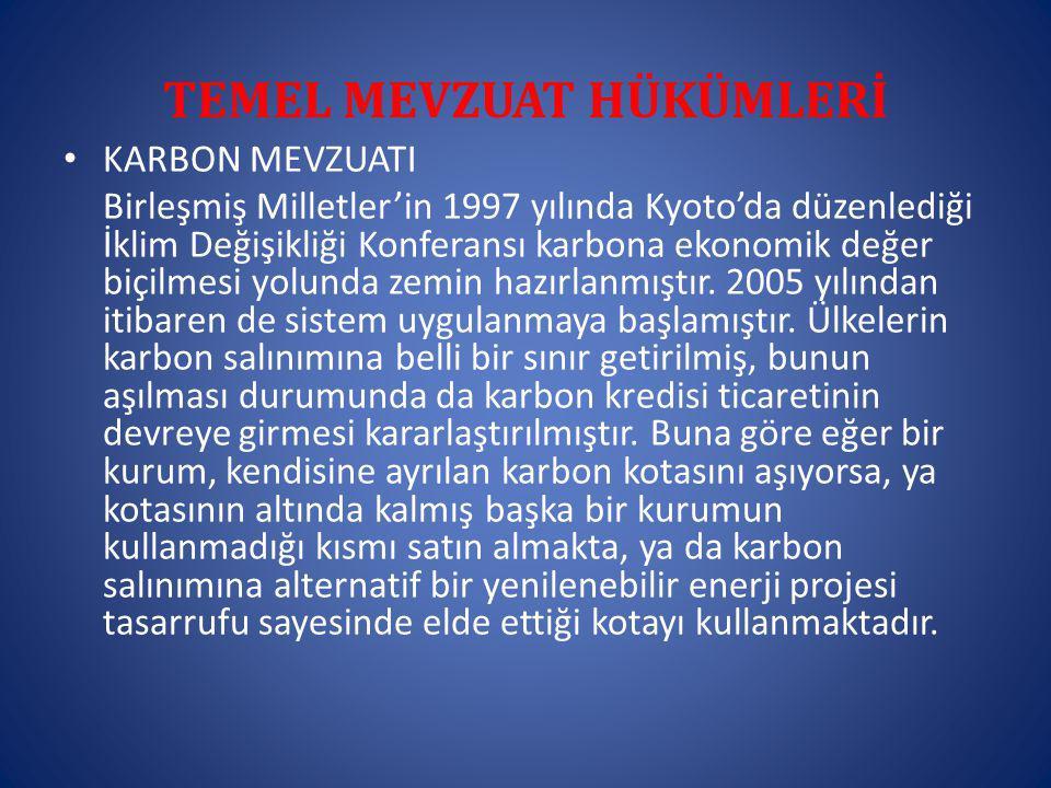 TEMEL MEVZUAT HÜKÜMLERİ KARBON MEVZUATI Birleşmiş Milletler'in 1997 yılında Kyoto'da düzenlediği İklim Değişikliği Konferansı karbona ekonomik değer biçilmesi yolunda zemin hazırlanmıştır.