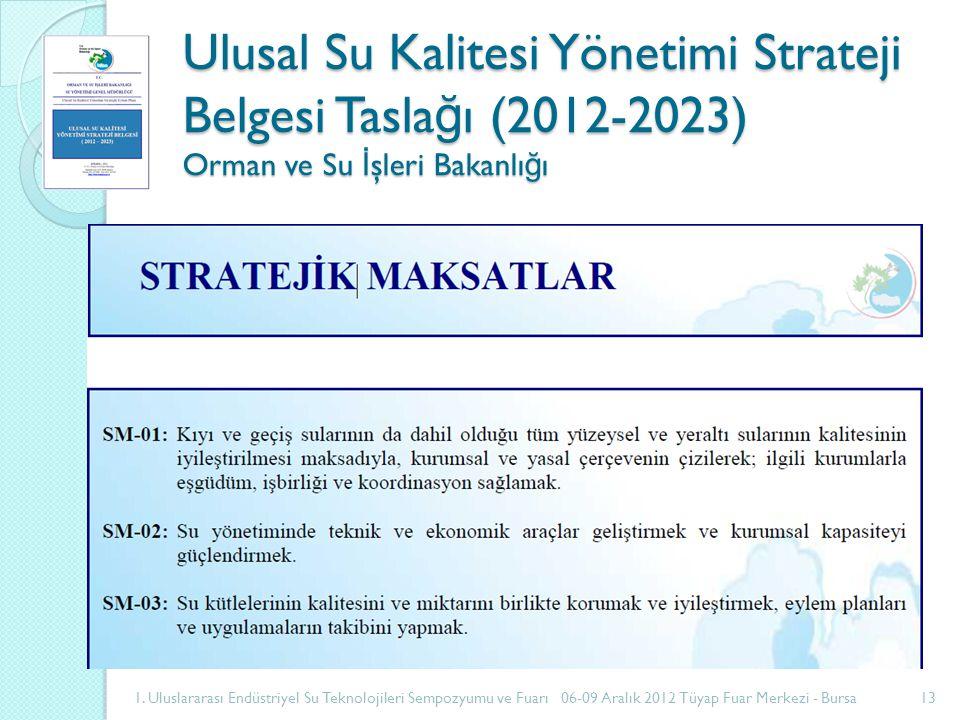 Ulusal Su Kalitesi Yönetimi Strateji Belgesi Tasla ğ ı (2012-2023) Orman ve Su İ şleri Bakanlı ğ ı 1.
