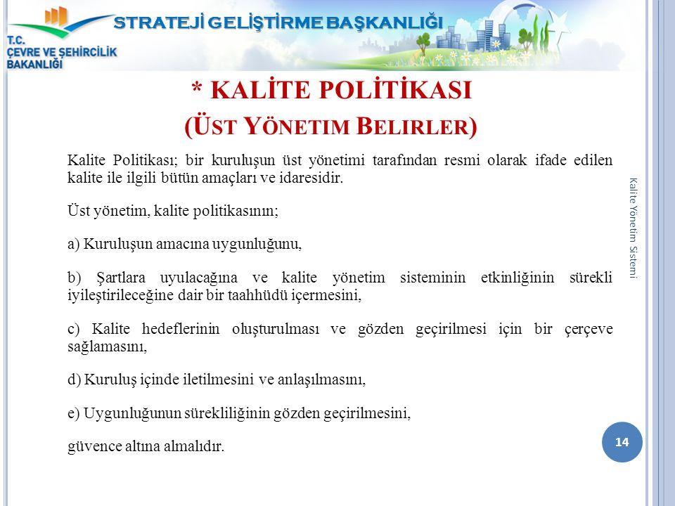 * KALİTE POLİTİKASI (Ü ST Y ÖNETIM B ELIRLER ) Kalite Politikası; bir kuruluşun üst yönetimi tarafından resmi olarak ifade edilen kalite ile ilgili bü