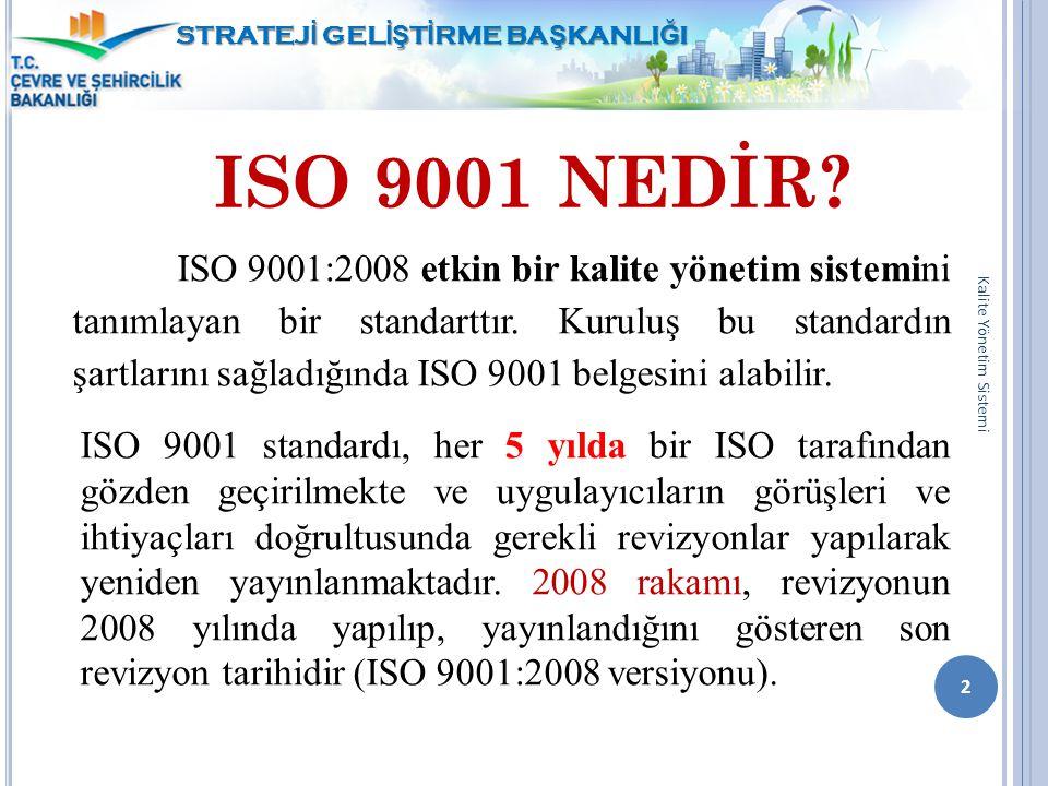 ISO 9001 NEDİR? ISO 9001:2008 etkin bir kalite yönetim sistemini tanımlayan bir standarttır. Kuruluş bu standardın şartlarını sağladığında ISO 9001 be