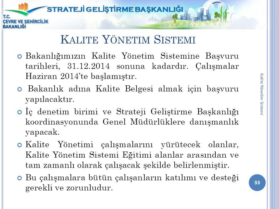 K ALITE Y ÖNETIM S ISTEMI Bakanlığımızın Kalite Yönetim Sistemine Başvuru tarihleri, 31.12.2014 sonuna kadardır. Çalışmalar Haziran 2014'te başlamıştı