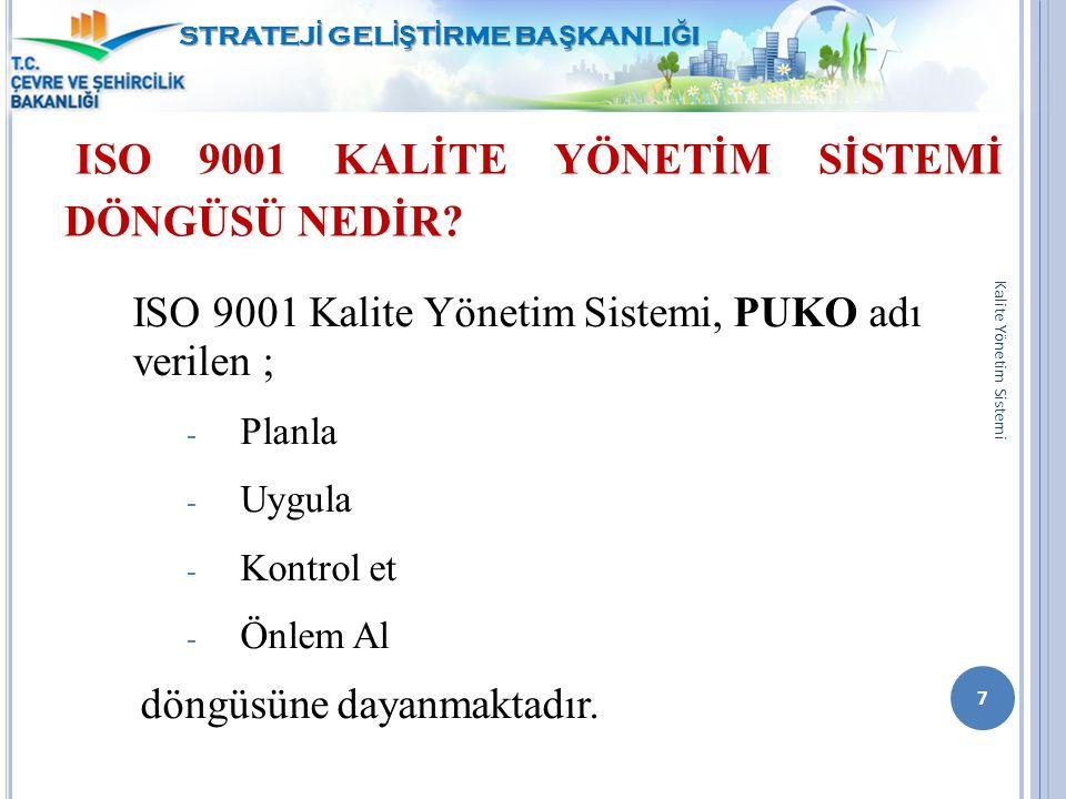 ISO 9001 KALİTE YÖNETİM SİSTEMİ DÖNGÜSÜ NEDİR? ISO 9001 Kalite Yönetim Sistemi, PUKO adı verilen ; - Planla - Uygula - Kontrol et - Önlem Al döngüsüne