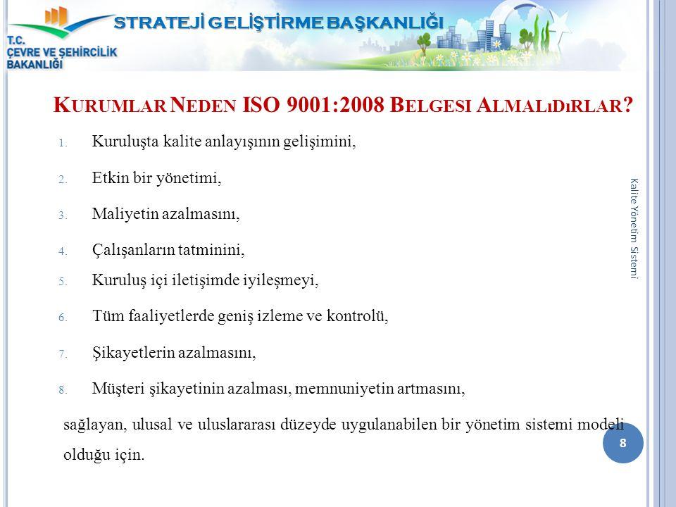 K URUMLAR N EDEN ISO 9001:2008 B ELGESI A LMALıDıRLAR ? 1. Kuruluşta kalite anlayışının gelişimini, 2. Etkin bir yönetimi, 3. Maliyetin azalmasını, 4.