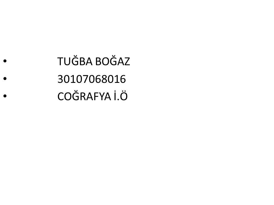 TUĞBA BOĞAZ 30107068016 COĞRAFYA İ.Ö