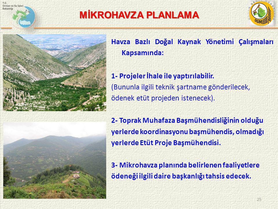 Havza Bazlı Doğal Kaynak Yönetimi Çalışmaları Kapsamında: 1- Projeler İhale ile yaptırılabilir.