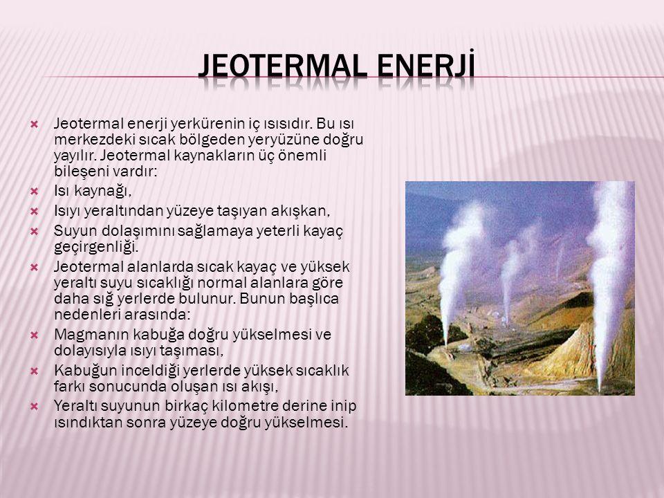  Jeotermal enerji yerkürenin iç ısısıdır.
