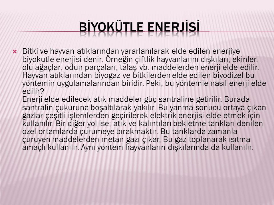  Bitki ve hayvan atıklarından yararlanılarak elde edilen enerjiye biyokütle enerjisi denir.