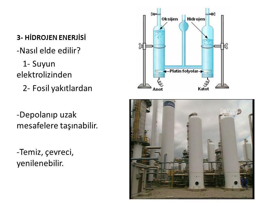 3- HİDROJEN ENERJİSİ -Nasıl elde edilir.