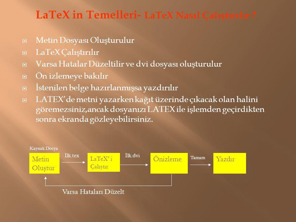 LaTeX in Temelleri- LaTeX Nasıl Çalıştırılır ?  Metin Dosyası Oluşturulur  LaTeX Çalıştırılır  Varsa Hatalar Düzeltilir ve dvi dosyası oluşturulur