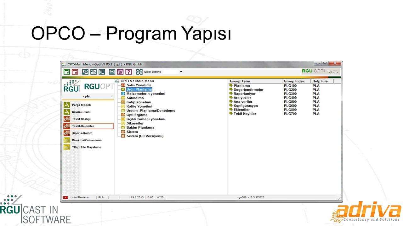 OPCO – Program Yapısı