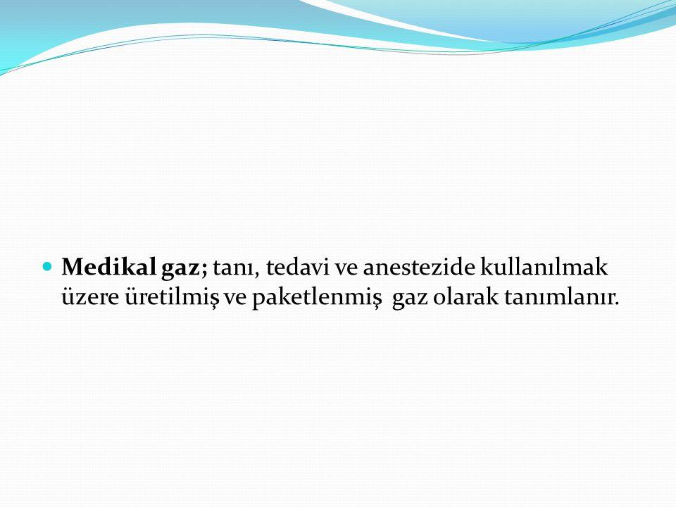 Medikal gaz; tanı, tedavi ve anestezide kullanılmak üzere üretilmiş ve paketlenmiş gaz olarak tanımlanır.