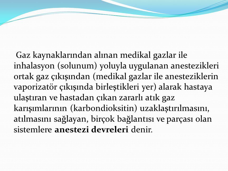 Gaz kaynaklarından alınan medikal gazlar ile inhalasyon (solunum) yoluyla uygulanan anestezikleri ortak gaz çıkışından (medikal gazlar ile anestezikle