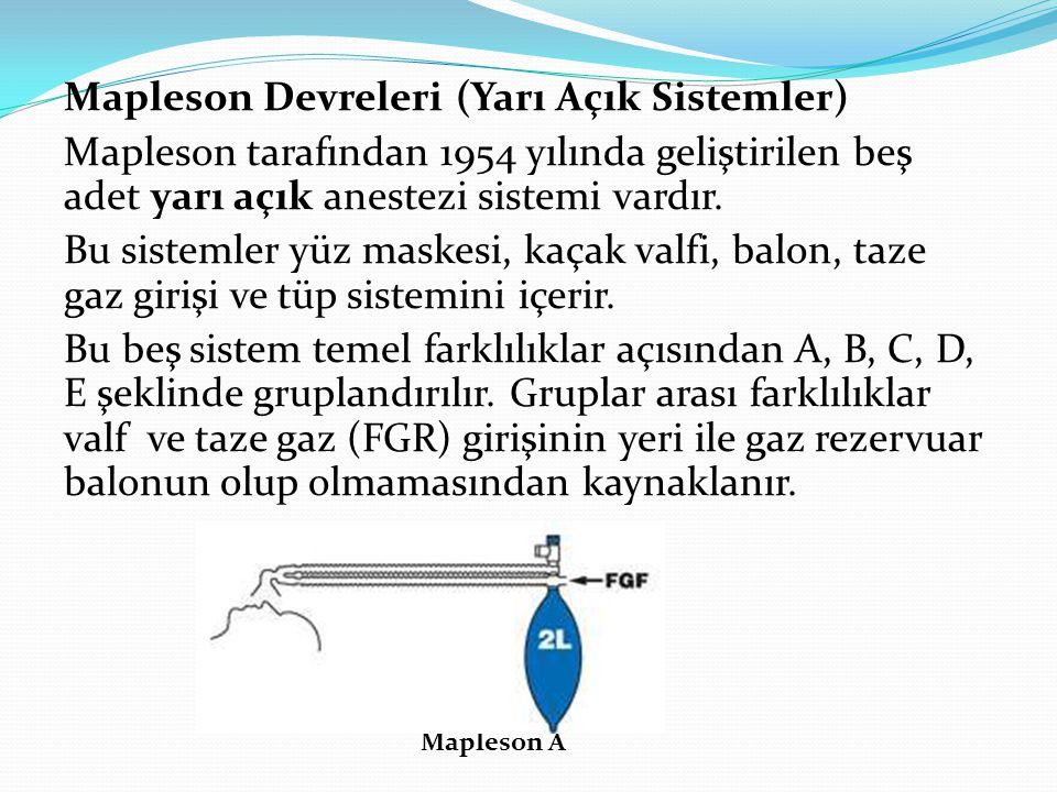 Mapleson Devreleri (Yarı Açık Sistemler) Mapleson tarafından 1954 yılında geliştirilen beş adet yarı açık anestezi sistemi vardır. Bu sistemler yüz ma