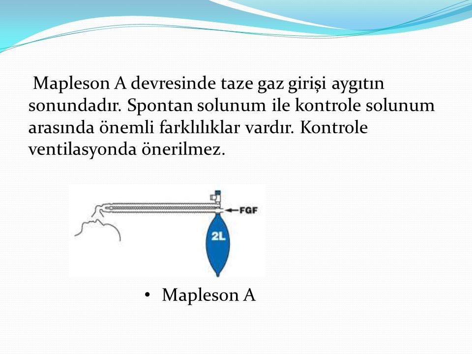 Mapleson A devresinde taze gaz girişi aygıtın sonundadır. Spontan solunum ile kontrole solunum arasında önemli farklılıklar vardır. Kontrole ventilasy