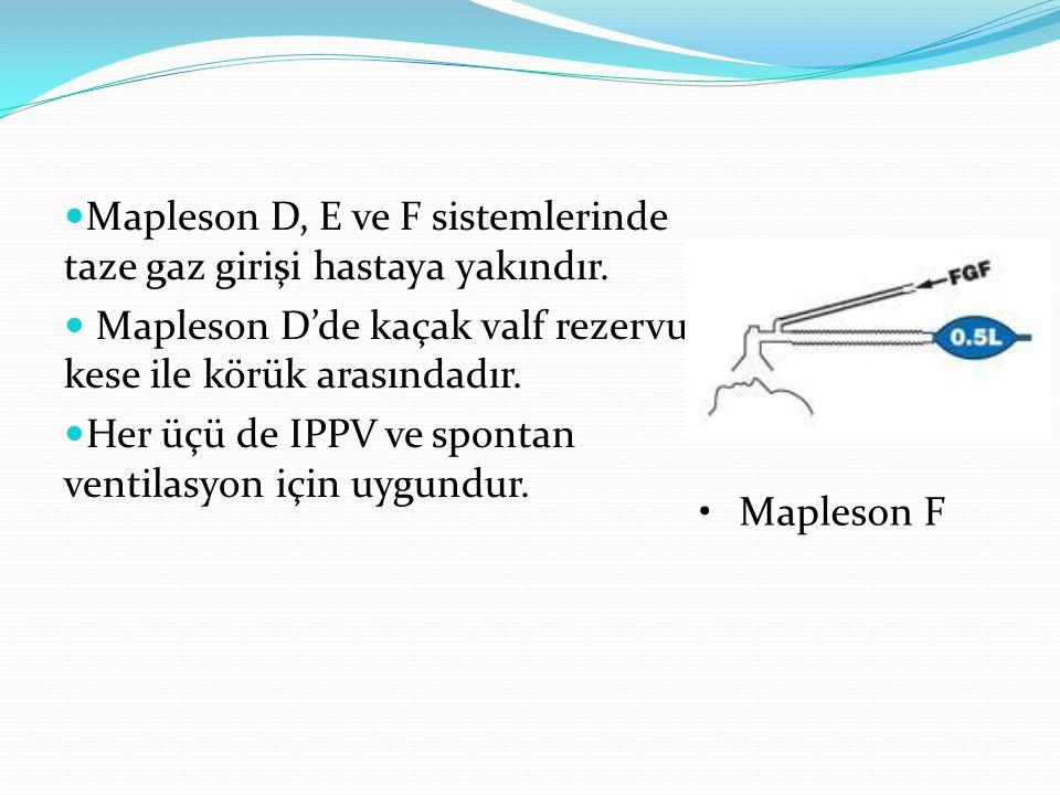 Mapleson D, E ve F sistemlerinde taze gaz girişi hastaya yakındır. Mapleson D'de kaçak valf rezervuar kese ile körük arasındadır. Her üçü de IPPV ve s