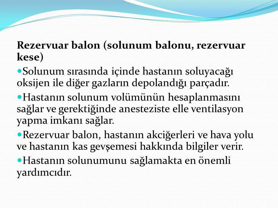 Rezervuar balon (solunum balonu, rezervuar kese) Solunum sırasında içinde hastanın soluyacağı oksijen ile diğer gazların depolandığı parçadır. Hastanı