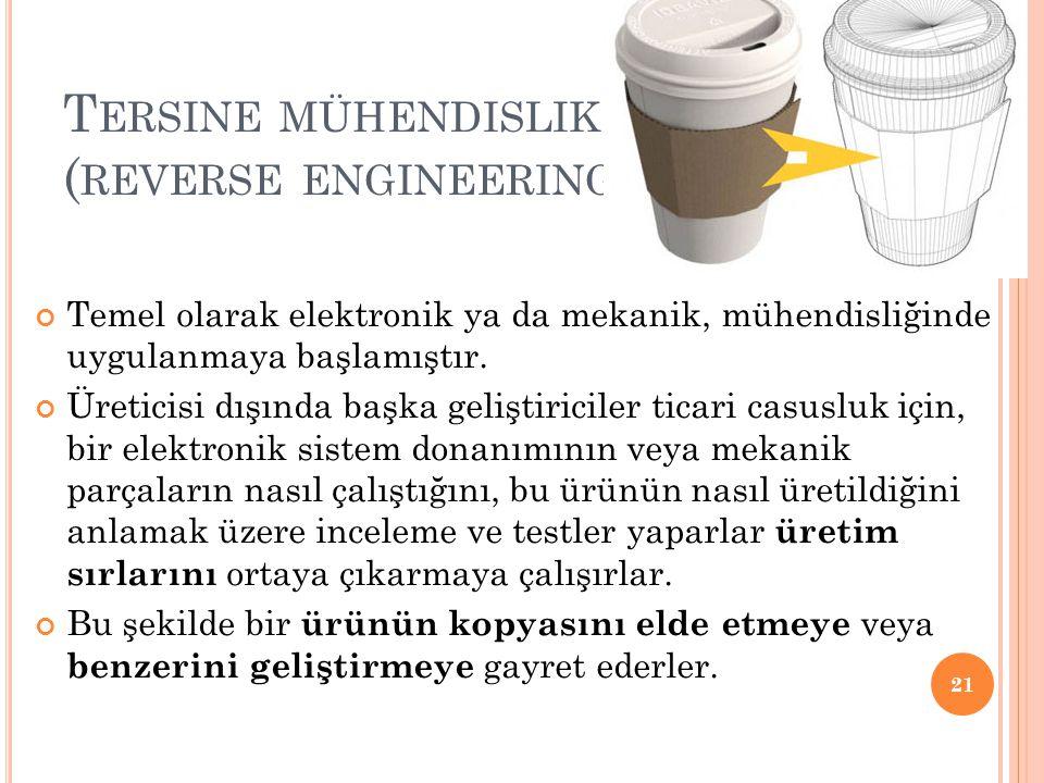 T ERSINE MÜHENDISLIK ( REVERSE ENGINEERING ) Temel olarak elektronik ya da mekanik, mühendisliğinde uygulanmaya başlamıştır. Üreticisi dışında başka g