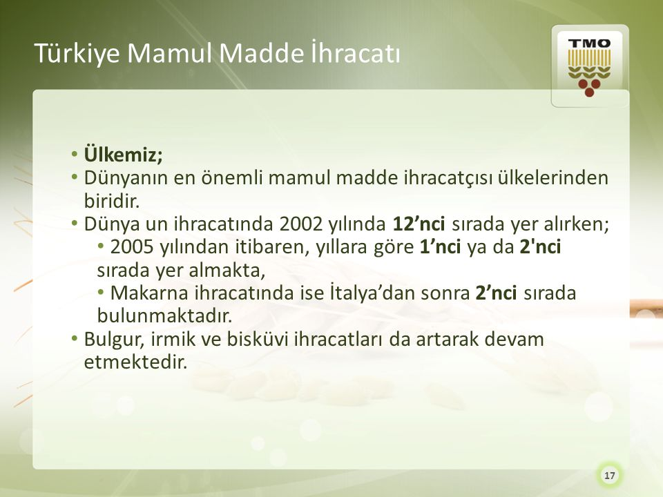 Türkiye Mamul Madde İhracatı Ülkemiz; Dünyanın en önemli mamul madde ihracatçısı ülkelerinden biridir. Dünya un ihracatında 2002 yılında 12'nci sırada