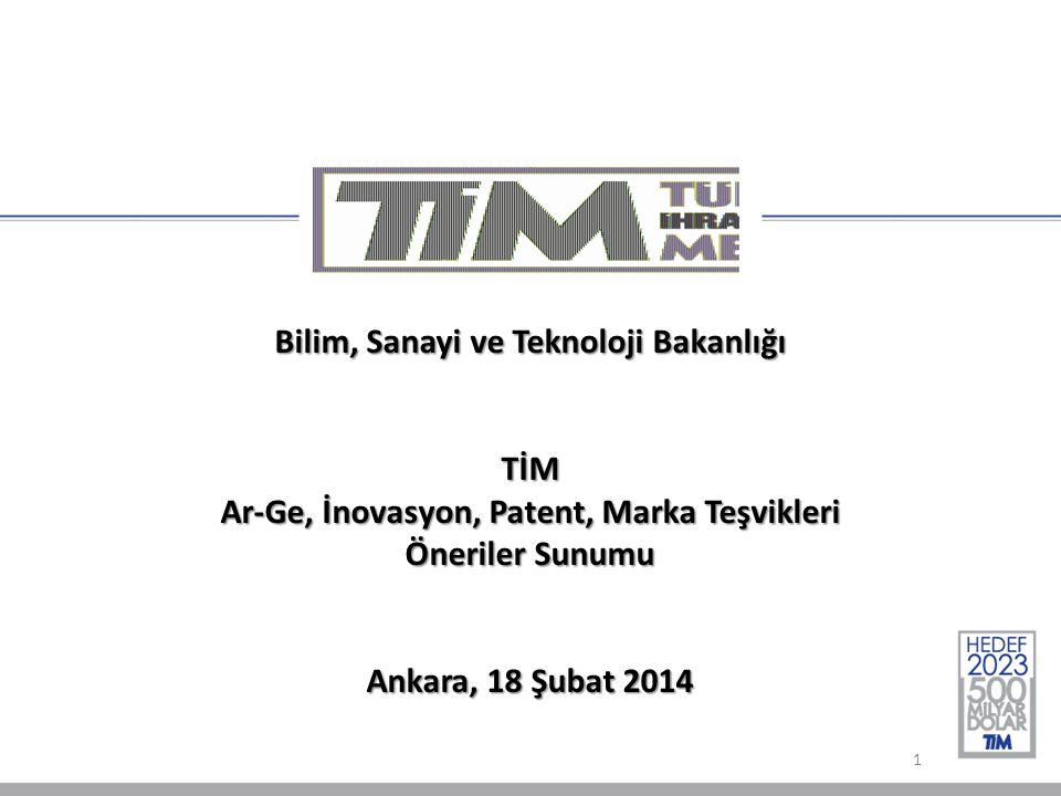 Bilim, Sanayi ve Teknoloji Bakanlığı TİM Ar-Ge, İnovasyon, Patent, Marka Teşvikleri Öneriler Sunumu Ankara, 18 Şubat 2014 1