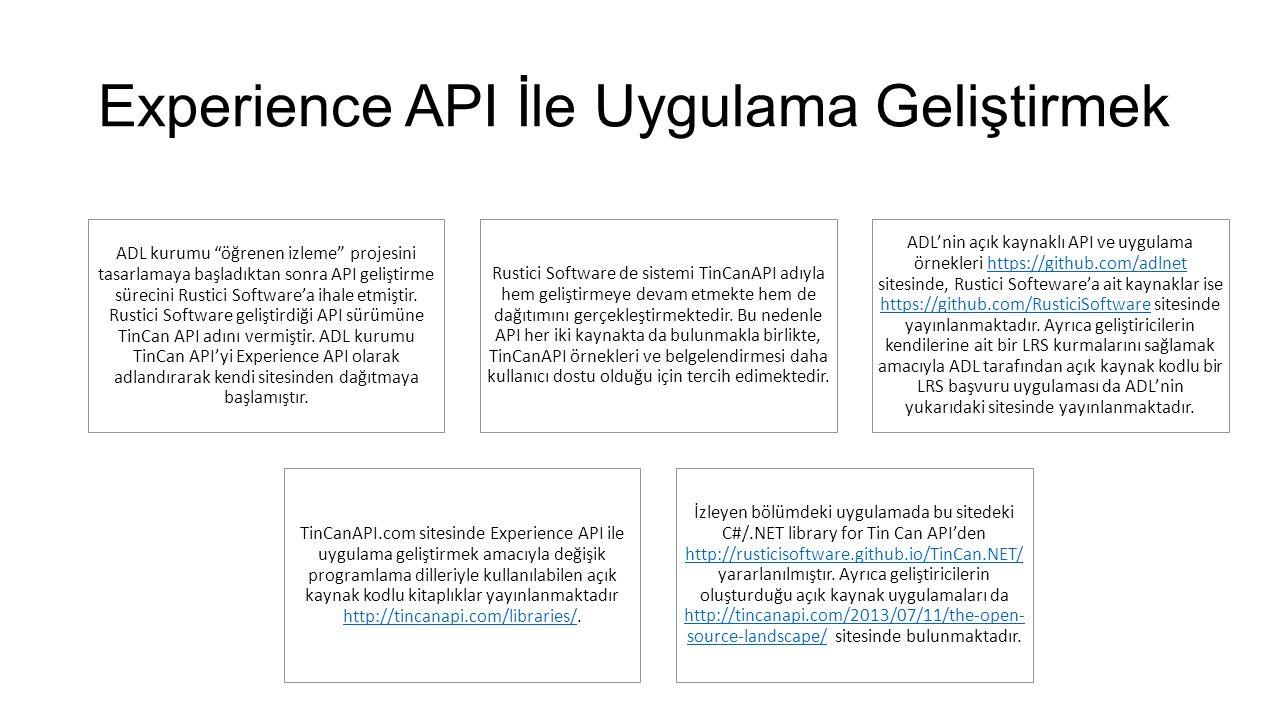 Experience API İle Uygulama Geliştirmek ADL kurumu öğrenen izleme projesini tasarlamaya başladıktan sonra API geliştirme sürecini Rustici Software'a ihale etmiştir.
