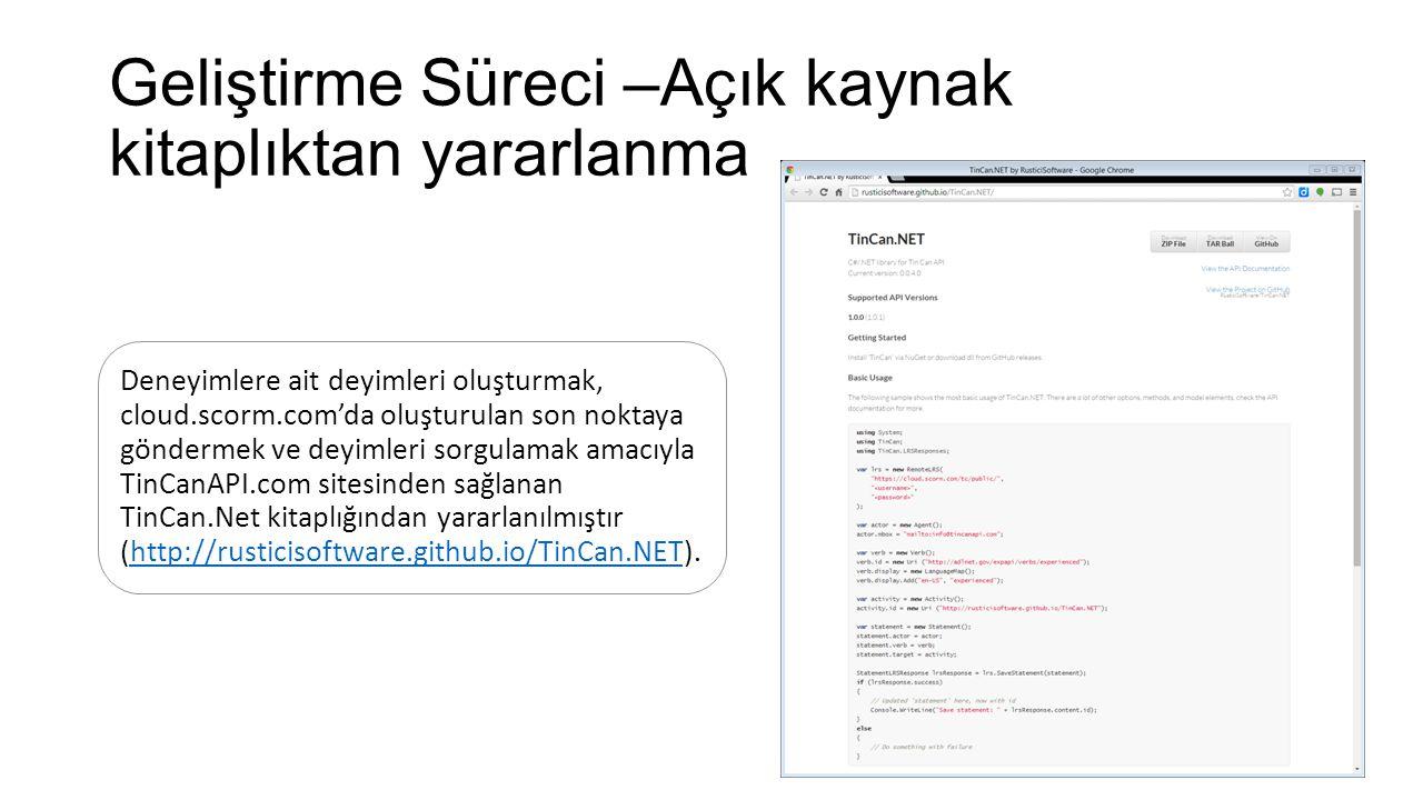 Geliştirme Süreci –Açık kaynak kitaplıktan yararlanma Deneyimlere ait deyimleri oluşturmak, cloud.scorm.com'da oluşturulan son noktaya göndermek ve deyimleri sorgulamak amacıyla TinCanAPI.com sitesinden sağlanan TinCan.Net kitaplığından yararlanılmıştır (http://rusticisoftware.github.io/TinCan.NET).http://rusticisoftware.github.io/TinCan.NET