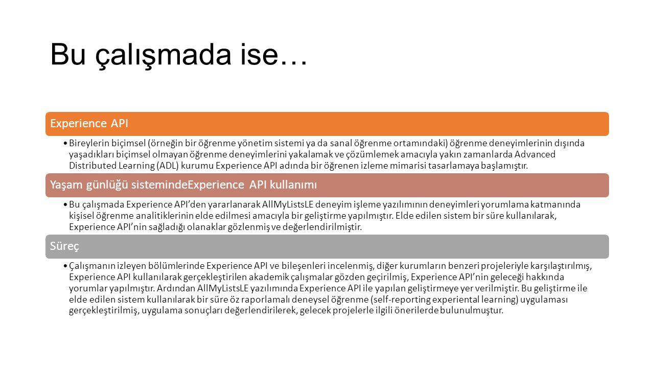 Advanced Distributed Learning (ADL) ve Projeleri 2000'lerde Sharable Content Object Reference Model (SCORM) 2010'larda Training and Learning Architecture (TLA)