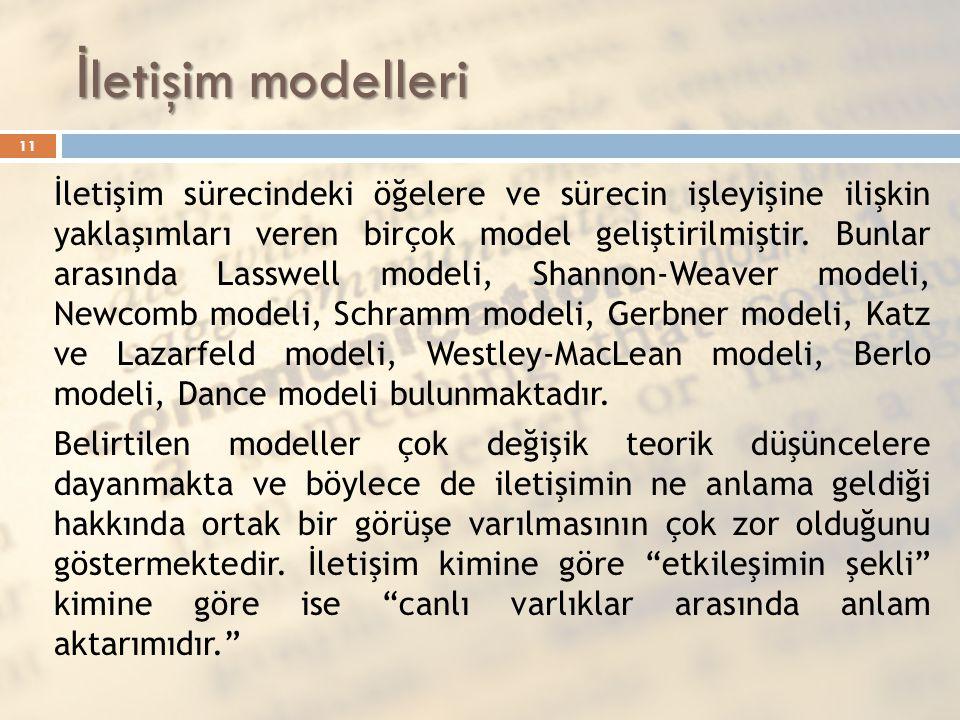 İ letişim modelleri İletişim sürecindeki öğelere ve sürecin işleyişine ilişkin yaklaşımları veren birçok model geliştirilmiştir. Bunlar arasında Lassw