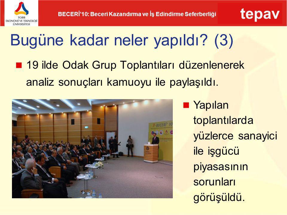 tepav BECERİ'10: Beceri Kazandırma ve İş Edindirme Seferberliği Bugüne kadar neler yapıldı? (3) 19 ilde Odak Grup Toplantıları düzenlenerek analiz son