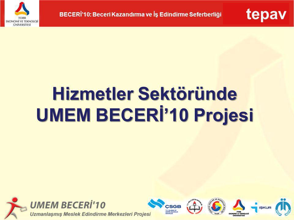 tepav BECERİ'10: Beceri Kazandırma ve İş Edindirme Seferberliği Hizmetler Sektöründe UMEM BECERİ'10 Projesi