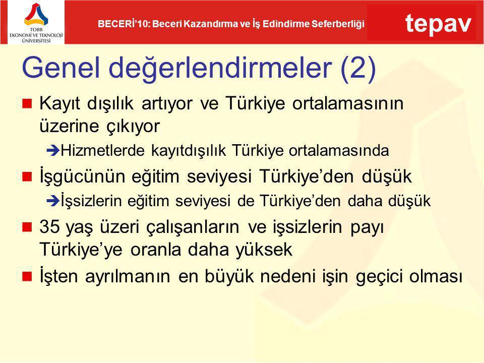 tepav BECERİ'10: Beceri Kazandırma ve İş Edindirme Seferberliği Genel değerlendirmeler (2) Kayıt dışılık artıyor ve Türkiye ortalamasının üzerine çıkı