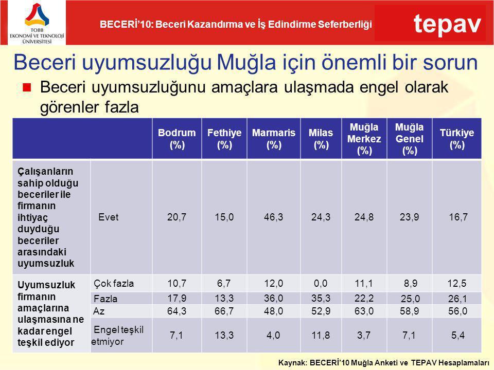 tepav BECERİ'10: Beceri Kazandırma ve İş Edindirme Seferberliği Beceri uyumsuzluğu Muğla için önemli bir sorun Bodrum (%) Fethiye (%) Marmaris (%) Mil
