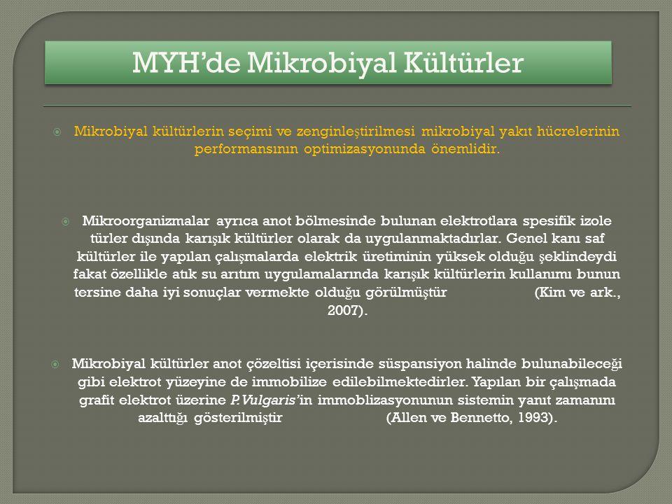  Mikrobiyal kültürlerin seçimi ve zenginle ş tirilmesi mikrobiyal yakıt hücrelerinin performansının optimizasyonunda önemlidir.  Mikroorganizmalar a