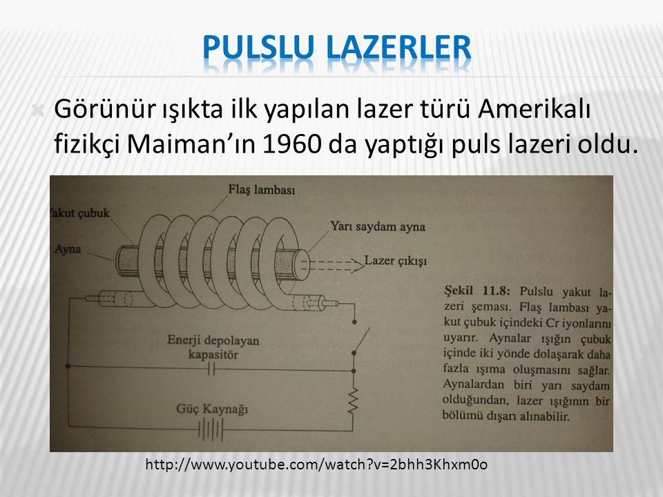 Görünür ışıkta ilk yapılan lazer türü Amerikalı fizikçi Maiman'ın 1960 da yaptığı puls lazeri oldu. http://www.youtube.com/watch?v=2bhh3Khxm0o