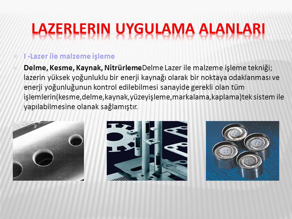  I -Lazer ile malzeme işleme  Delme, Kesme, Kaynak, NitrürlemeDelme Lazer ile malzeme işleme tekniği; lazerin yüksek yoğunluklu bir enerji kaynağı o