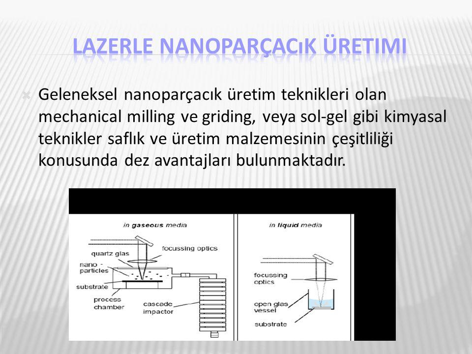  Geleneksel nanoparçacık üretim teknikleri olan mechanical milling ve griding, veya sol-gel gibi kimyasal teknikler saflık ve üretim malzemesinin çeş