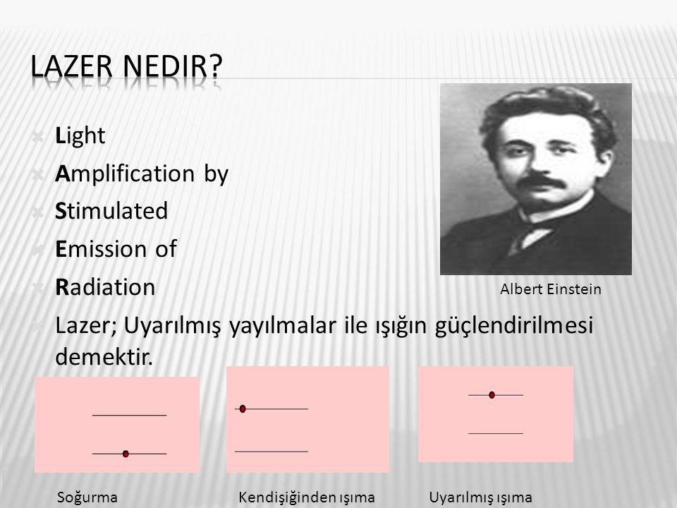 Light  Amplification by  Stimulated  Emission of  Radiation  Lazer; Uyarılmış yayılmalar ile ışığın güçlendirilmesi demektir. Albert Einstein S