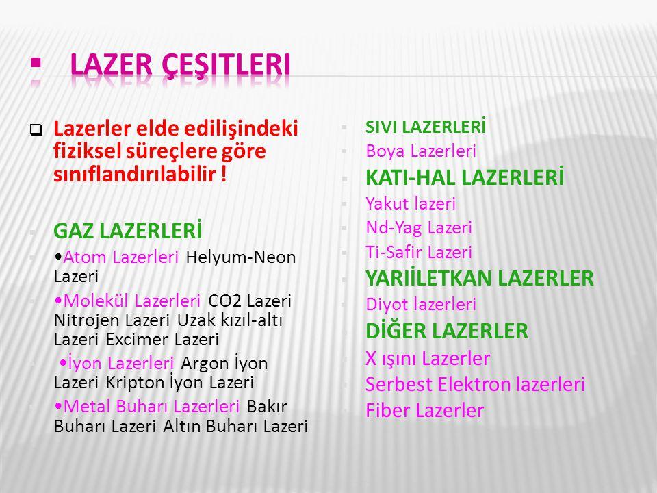  Lazerler elde edilişindeki fiziksel süreçlere göre sınıflandırılabilir !  GAZ LAZERLERİ Atom Lazerleri Helyum-Neon Lazeri  Molekül Lazerleri CO2