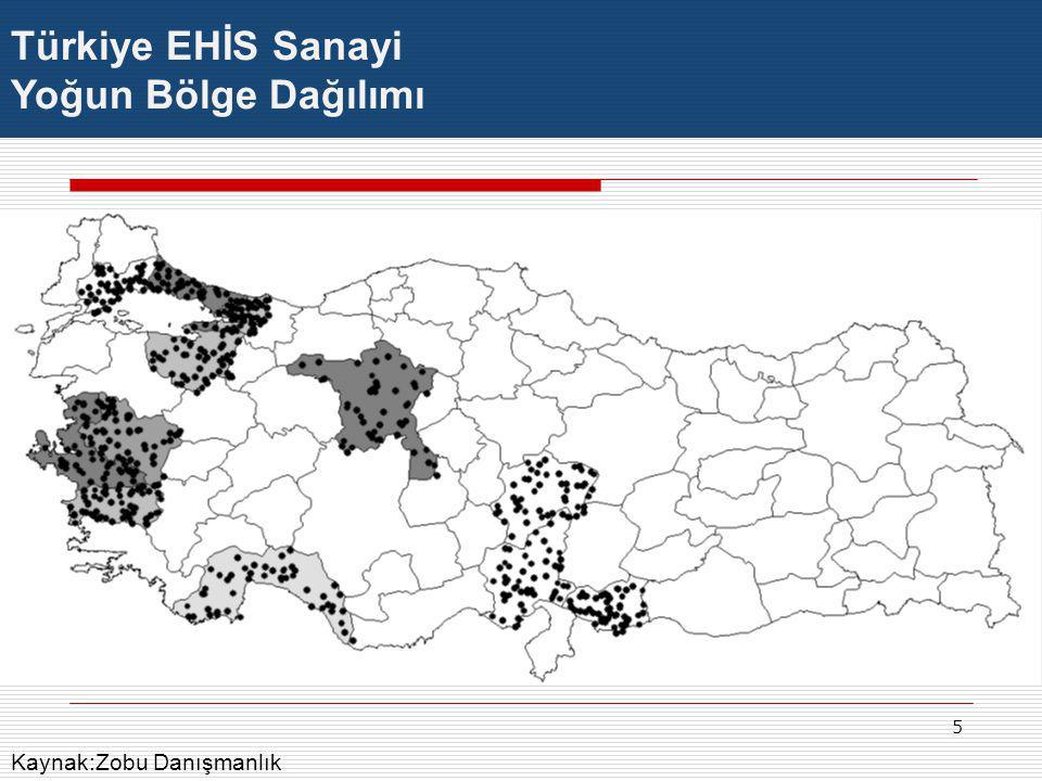 5 Türkiye EHİS Sanayi Yoğun Bölge Dağılımı Kaynak:Zobu Danışmanlık