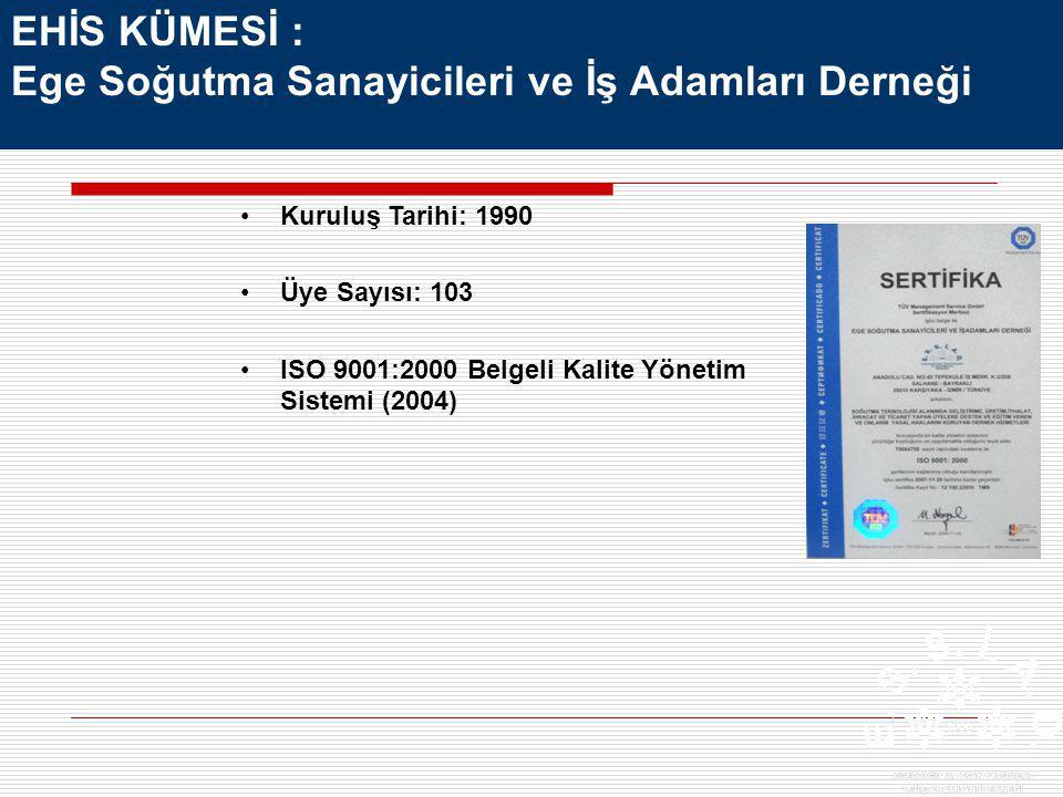 Kuruluş Tarihi: 1990 Üye Sayısı: 103 ISO 9001:2000 Belgeli Kalite Yönetim Sistemi (2004) EHİS KÜMESİ : Ege Soğutma Sanayicileri ve İş Adamları Derneği