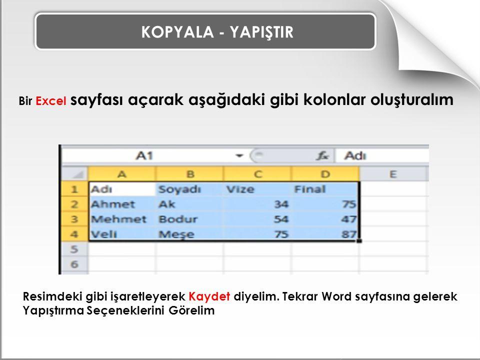 KOPYALA - YAPIŞTIR Bir Excel sayfası açarak aşağıdaki gibi kolonlar oluşturalım Resimdeki gibi işaretleyerek Kaydet diyelim.